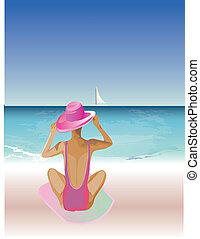 Lady relaxing on the beach