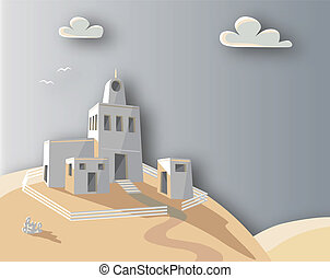 Hill house - Editable vector illustration of an adobe...