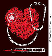 heart, stethoscope and thermometer
