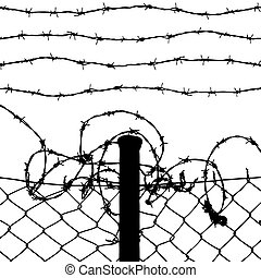 vector of wired fence with four barbed wires