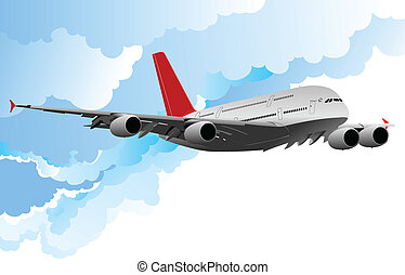 Airplane in flight . Vector illust