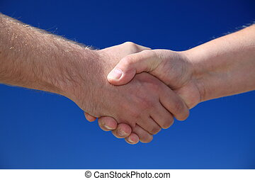 Handshake - Two persons shaking hands in front of bright...