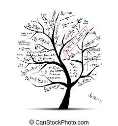 matemáticas, árbol, su, diseño