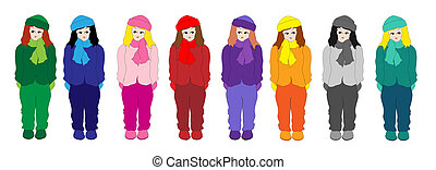 Little girls - A vector illustration of a row of little...
