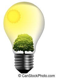 light bulb with green world inside