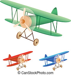 old biplane - Vector illustration set of old biplane
