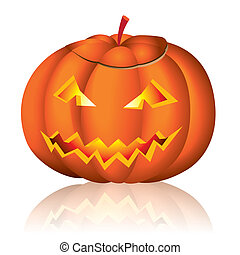 Jack-o-lantern halloween vector illustration on white...
