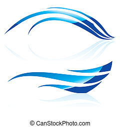 Abstract vector waves - Vector illustration of abstract blue...
