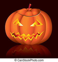 Jack-o-lantern halloween vector illustration on black...