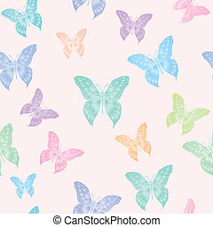 Pastel butterflies - A seamless vector background of...
