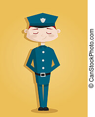 Retro cartoon policeman
