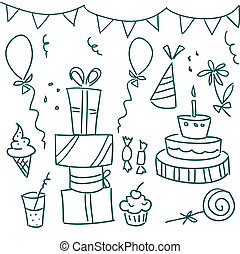 Birthday party doodles