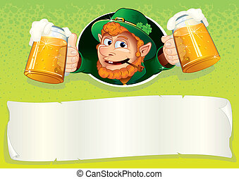 Celebration background - Friendly Irish Leprechaun with mugs...