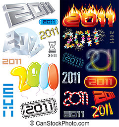 New year tags and labels - 2011 year vector labels, icons,...