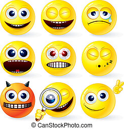 Funky Smilies 4 - Cartoon Yellow Smiley Balls #4, positive...