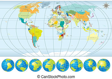 world map with globes - World Map with Globes - detailed...