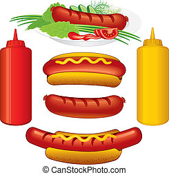 Hot Dogs Set - Vector Illustrations of Hot Dogs and Sauce