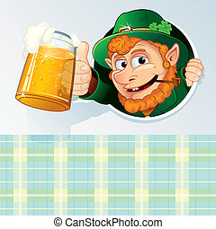Saint Patrick Card - Happy St. Patrick's Day, Cartoon Card...