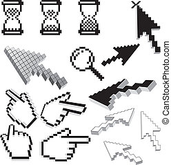 Pixelated icons and arrows isolated vector