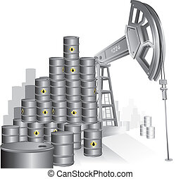 Oil Pump - Industrial vector illustration, Oil pump and...