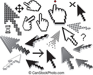Pixelated icons, symbols Vector set