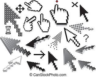 Pixelated icons, symbols. Vector set