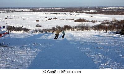 Ski slalom in sunny winter day