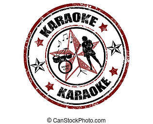 Karaoke stamp - Grunge rubber stamp with word karaoke...