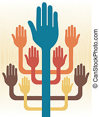 Hands working together vector.