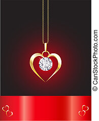 Diamond necklace heart - A diamond heart pendant on gold...