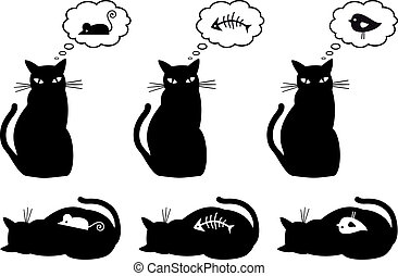 hungry and bellyful cat, vector - cat dreaming about eating,...