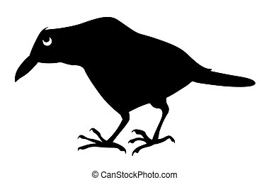 vector silhouette sick ravens on white background