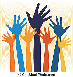 Joyful hands illustration. - Joyful hands illustration...
