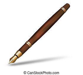 Fountain Pen - Illustration of a brown marble and gold...