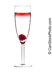 Designer cocktail isolated over white with raspberry