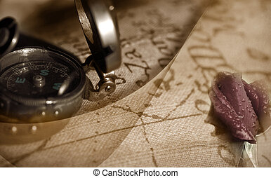 ancient compass and map - Travel back to ancient compass,...