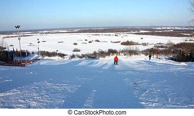 Edit cut on ski slalom  in sunny winter day