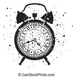 vector illustration of retro alarm clock in grungy style