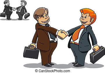 Businessman meeting - Two cartoon smiling businessmen...