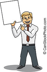 Businessman with blank placard for advertising design