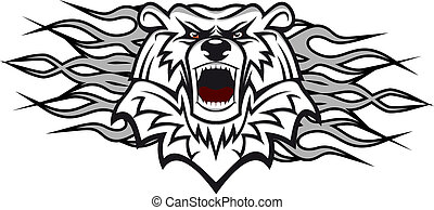 Arctic bear with flames for tattoo or mascot design