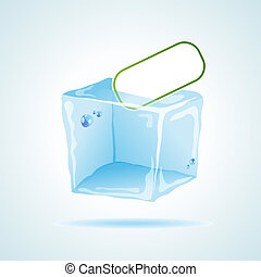 Ice cube - Vector picture with icecube and space for your...