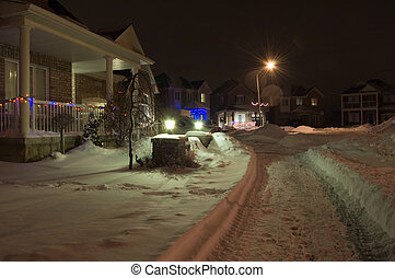 Christmas night - Small street of Richmond Hill, Ontario at...