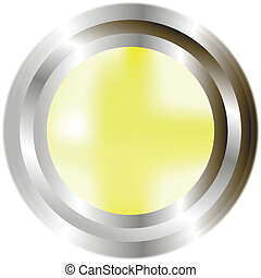 Yellow button - A large, metallic, yellow button