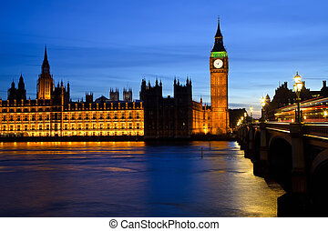 Big Ben and Houses of Parliament at night, London, UK