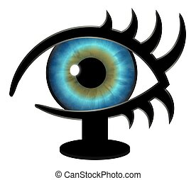 Big Brother Eye on a Stand - Illustration of a striking blue...