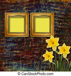 Old wooden frame for photo with bunch of flower