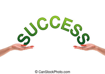 Hands holding the word Success.