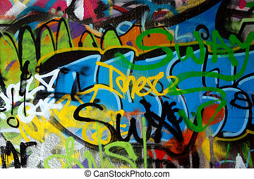 graffiti - Abstract colorful graffiti background in a wall