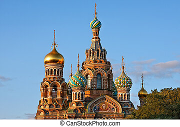 The Church of the Savior on Spilled Blood at sunset, St....